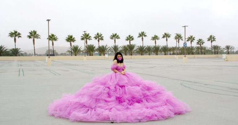 This UCLA student made a 12-foot-wide social distancing dress